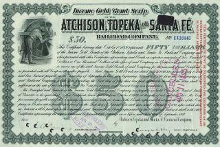 Usa Atchison Topeka & Santa Fe Railroad Company Bond Stock Certificate 1894 $50 photo