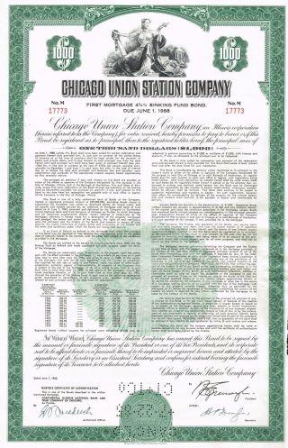 Usa Chicago Union Station Company Bond Stock Certificate photo
