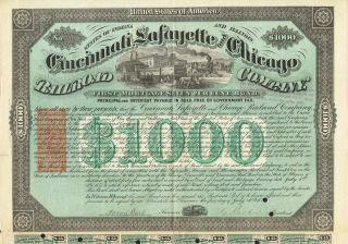 Usa Cincinnati Lafayette & Chicago Railroad Company Bond Stock Certificate 1871 photo