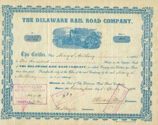 Usa Delaware Rail Road Company Stock Certificate 1890 photo