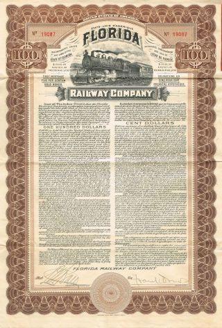 Usa Florida Railway Company Gold Bond Stock Certificate 1909 photo