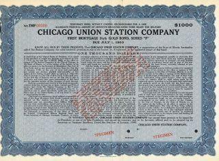 Usa Chicago Union Station Company Gold Bond Stock Certificate Specimen photo