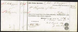 Usa Philadelphia Wilmington Baltimore Railroad Stock Certificate 1843 photo