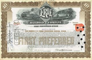 Usa Erie Railroad Company Stock Certificate Preferred Stock photo