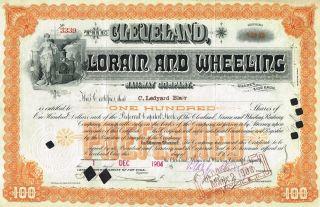 Usa Cleveland Lorain & Wheeling Railway Company Stock Certificate 1904 photo