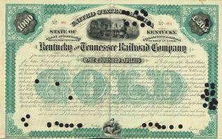 Usa Kentucky & Tennessee Railroad Stock Certificate 1872 photo