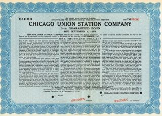 Usa Chicago Union Station Company Guaranteed Bond Stock Certificate Specimen photo