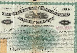 Usa Cincinnati & Springfield Railway Company Bond Stock Certificate 1871 photo