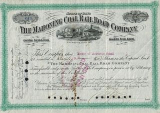 Usa Mahoning Coal Rail Road Company Stock Certificate Augustus Schell 1886 photo