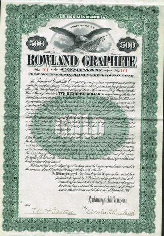 Usa Rowland Graphite Company Bond Stock Certificate 1907 Maine photo