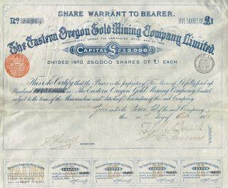 Usa Eastern Oregon Gold Mining Company Stock Certificate 1888 5 Sh photo