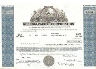Georgia - Pacific Debenture Bond Certificate From 1975 photo