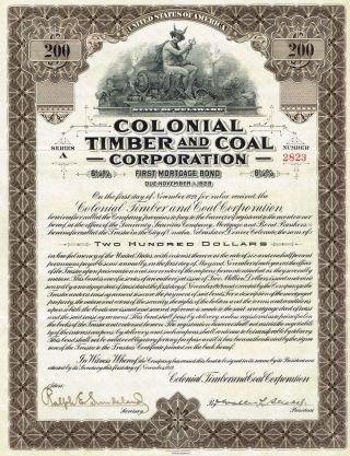 Usa Colonial Timber & Coal Bond Stock Certificate 1919 Delaware photo