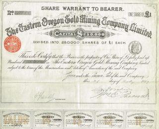Usa Eastern Oregon Gold Mining Company Stock Certificate 1889 1 Sh photo