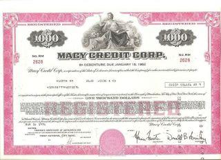 Macy Credit Corp Debenture Bond Certificate From 1976 photo