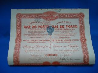 Portugal Oporto Porto Gaz Share 45000 Reis 1908 Look Scans photo