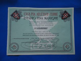 Portugal Share Casa Pia Estadio Pina Manique 10 Escudos 1952 Look Scans photo