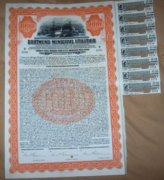 Germany 6.  5% Sinking Fund Gold Bond 1928 Dortmund Municipal Utilities $1000 Coup photo