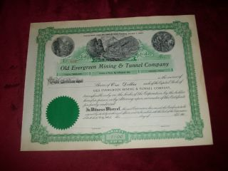 Old Evergreen Mining & Tunnel Company 1907 Stock Big Cottonwood Utah No.  508 photo