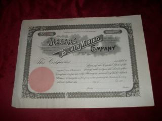 Meears Silver Mining Company Stock 1890 ' S Park City Utah Uncirculated 340 photo