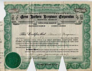 Ironwood,  Mi,  Great Northern Acceptance Corp. ,  1929 8 - 1/2 Shares,  Alois Mazanec photo