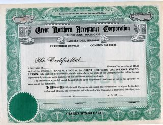 Ironwood,  Mi,  Great Northern Acceptance Corp. ,  1929 Unissued Certificate photo