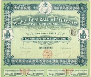 France General Electric Company Stock Certificate 1911 photo