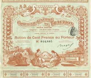 France General Traction Co Stock Certificate 1896 photo