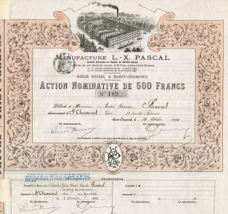 France L.  X.  Pascal Manufacturing Company Stock Certificate 1894 Issued To Pascal photo
