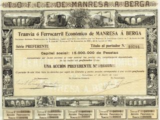 Spain Railway Stock Certificate 1902 Manresa To Berga photo