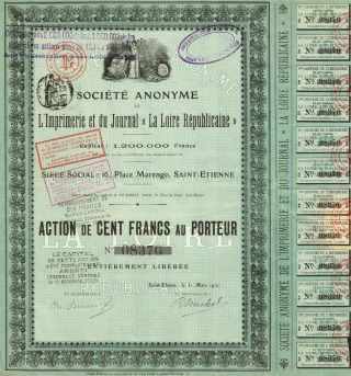 France La Loire Republicaine Company Stock Certificate 1910 Printing photo