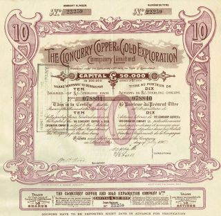 Australia Cloncurry Copper & Gold Exploration Company Stock Certificate 1907 photo