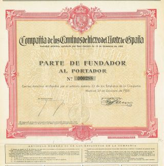 Spain The Company Of Northern Spain Railways Stock Certificate 1926 Madrid photo