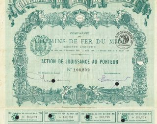 France Railways Of Southern France Stock Certificate 1898 photo