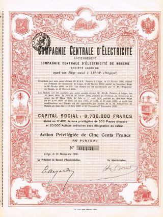 Russia Central Electric Company Of Moscow Stock Certificate 1906 photo