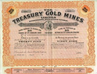 South Africa Treasury Gold Mines Company Stock Certificate Specimen photo