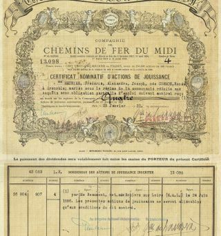 France Railways Of Southern France Stock Certificate 1921 photo