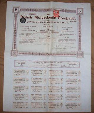 Uk Gb Bond 1906 British Molybdenite Company 5 Shares £5 Coupons Uncancelled photo