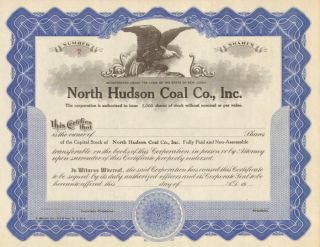 North Hudson Coal Co.  1930s Old Stock Certificate Share photo