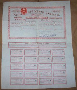 Uk Gb Bond 1905 Medina Gold Mines Limited 5 Shares £5 Coupons Uncancelled photo