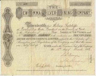 The Emma Silver Mining Company,  Ltd Of London Stock Certificate,  1889 photo