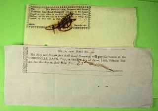 Ten Different Railroad Bond Coupons 1852 On. photo
