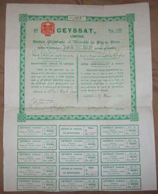 Uk Gb 1899 Ceyssat Ltd Thermale Spa Puy De Dome 5 Shares £5 Coupons Uncancelled photo