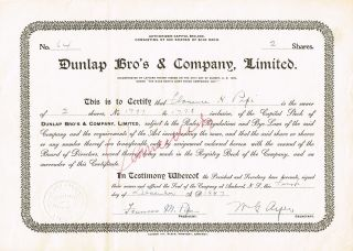 Canada Dunlap Bro ' S & Company Stock Certificate Hardware Nova Scotia photo
