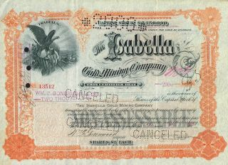 Usa Isabella Gold Mining Company Stock Certificate 1897 Colorado photo