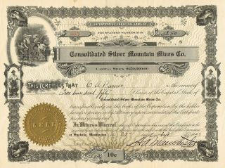 Usa Consolidated Silver Mountain Mines Company Stock Certificate 1923 photo