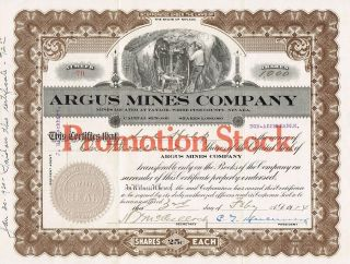 Usa Argus Mines Company Stock Certificate 1914 Promotion Stock photo