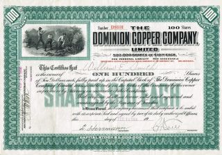 Usa Dominion Copper Company Stock Certificate 1908 photo