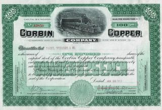 Usa Corbin Copper Company Stock Certificate 1913 photo