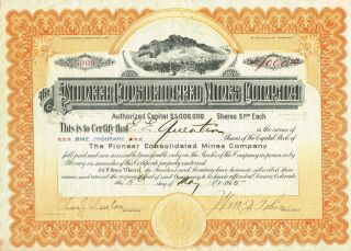 Usa Pioneer Consolidated Mines Company Stock Certificate 1915 photo